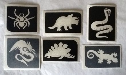 6 x BOYS GLITTER TATTOO STENCILS DINOSAUR LIZARD DRAGON SPIDER